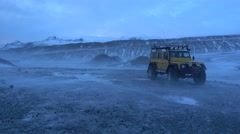 Heavy storm in Jokulsarlon Lagoon before get into blue ice cave Stock Footage
