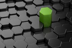 Different 3d hexagon shape - stock illustration