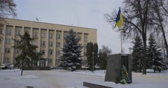 Administrative Building of Konotop City Ukrainian Flag is Waving at the Former Stock Footage