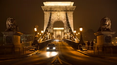 He front of the Szechenyi Chain Bridge in Budapest, Hungary Stock Footage