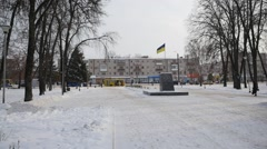 Ukrainian Flag is Waving Placed at The Pedestal Former Lenin's Memorial Stock Footage
