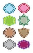 vintage decorative badges vector illustration - stock illustration