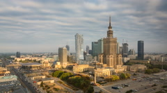Warsaw Downtown in the morning - Timelapse, Polish Capital. - stock footage