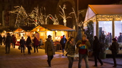 Tourists in the Christmas market in Budapest, Hungary. Stock Footage