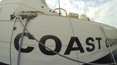 Side of Coast Guard Ship Stock Footage