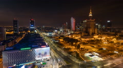 Warsaw Skyline Night City Timelapse, Polish Capital Stock Footage