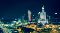 Warsaw Downtown at Night - Timelapse, Polish Capital - stock footage