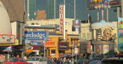 View of a crowded street and many advertising signs at Niagara Falls, Canada Stock Footage