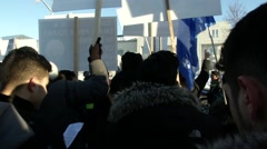 Protest against Saudi Arabia in front of their Canadian Embassy Stock Footage