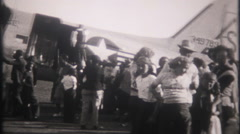 3095 large crowd attends air show at military base - vintage film home movie Stock Footage
