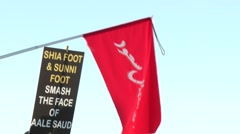 Arab people marching in protest of Saudi Arabia's execution of Sheikh Nimr Stock Footage