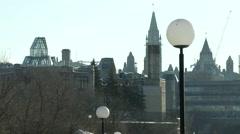 Cold Ottawa Skyline in Winter Stock Footage