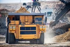 Big yellow mining truck. Belaz. - stock photo