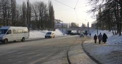 Panorama of City Pedestrians People Are Walking Along Railway Railroad Cars are Stock Footage