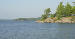 View of the lake and the shore made of stone at Killbear Provincial Park Stock Footage