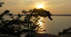 Amazing sunset on lake at Killbear Provincial Park Stock Footage