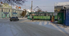 Panorama of a Wagon Pedestrians People Waiting For Tram Departure People Are Stock Footage