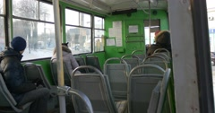 People Are Waiting For Tram Departure Sitting Seats in a Wagon of an Old Green Stock Footage