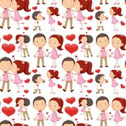Seamless couple kissing and hugging Stock Illustration