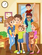 Family standing in the living room Stock Illustration