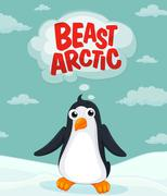 Penguin living in the arctic Stock Illustration