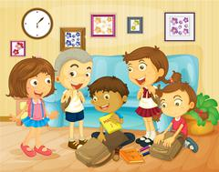 Boys and girls packing bags in the room Stock Illustration