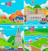 Four scenes of city and countryside Stock Illustration