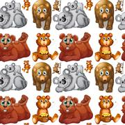 Seamless grizzly bears and cubs Stock Illustration