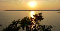 Amazing golden sunset at the lake at Killbear Provincial Park Stock Footage