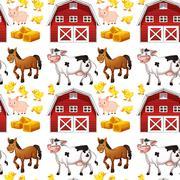 Seamless farm animals and barn Stock Illustration