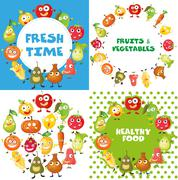 Fruits and vegetables with face Stock Illustration