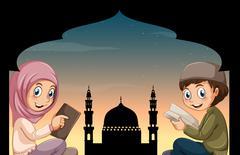 Muslim boy and girl reading books Stock Illustration