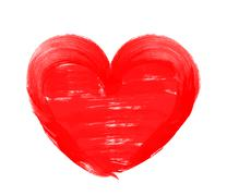 Love shape heart drawn with red paint on a white background - stock photo