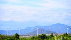 Turbine Tower Rotating on Windmill Field Stock Footage