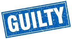 guilty blue square grunge stamp on white - stock illustration