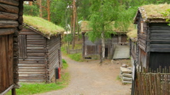 Beautiful norwagian village houses with green grass rooftop, norway, 4k Stock Footage