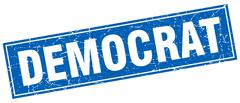 Democrat blue square grunge stamp on white Stock Illustration