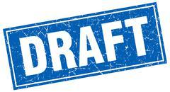 draft blue square grunge stamp on white - stock illustration