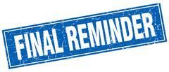 final reminder blue square grunge stamp on white - stock illustration