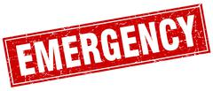 Emergency red square grunge stamp on white Stock Illustration