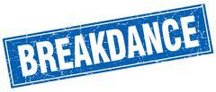 Breakdance blue square grunge stamp on white Stock Illustration