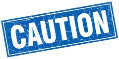 caution blue square grunge stamp on white - stock illustration