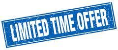 limited time offer blue square grunge stamp on white - stock illustration