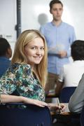 Female Teenage Student In Class - stock photo