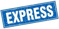 Stock Illustration of express blue square grunge stamp on white