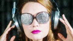 sunglasses sexy babe headphones diva party disco woman - stock footage