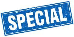 special blue square grunge stamp on white - stock illustration