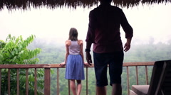 Couple in love, standing on terrace and admire view, super slow motion - stock footage