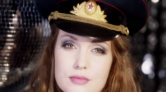 Suzanne army hat00 Stock Footage