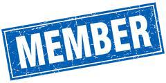 Member blue square grunge stamp on white Stock Illustration